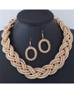 Weaving Braids Design Chunky Necklace and Earrings Set - Golden