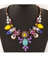 Assorted Resin Flowers High Fashion Women Statement Necklace