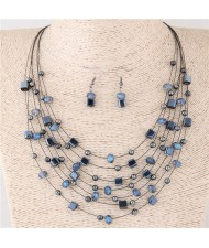 Crystal Beads Multi-layer High Fashion Costume Necklace and Earrings Set - Gray