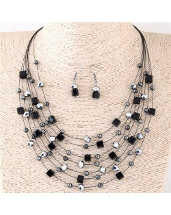 Crystal Beads Multi-layer High Fashion Costume Necklace and Earrings Set - Black