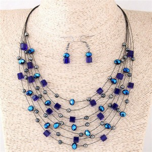 Crystal Beads Multi-layer High Fashion Costume Necklace and Earrings Set - Blue