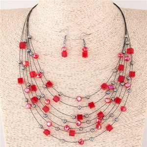 Crystal Beads Multi-layer High Fashion Costume Necklace and Earrings Set - Red