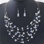Crystal Beads Multi-layer High Fashion Costume Necklace and Earrings Set - White