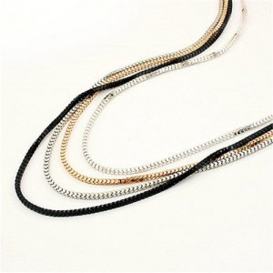Four Layers Snake Chain Long Fashion Alloy Costume Necklace
