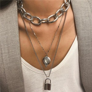 Punk Fashion Triple Layers Lock Pendant Women Statement Necklace - Silver