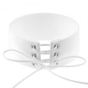 Vintage Tie Fashion Unique Choker Statement Necklace - White
