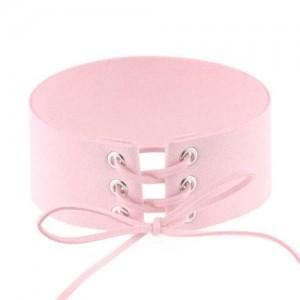 Vintage Tie Fashion Unique Choker Statement Necklace - Pink