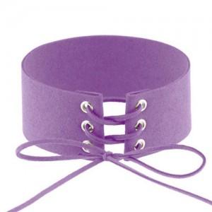 Vintage Tie Fashion Unique Choker Statement Necklace - Purple