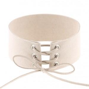 Vintage Tie Fashion Unique Choker Statement Necklace - Creamy White