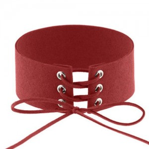 Vintage Tie Fashion Unique Choker Statement Necklace - Red