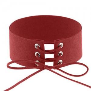 Vintage Tie Fashion Unique Choker Statement Necklace - Red