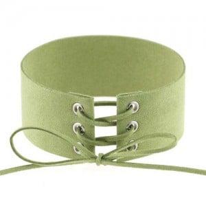 Vintage Tie Fashion Unique Choker Statement Necklace - Green