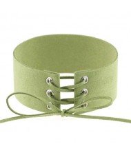 Vintage Tie Fashion Unique Choker Statement Necklace - Green