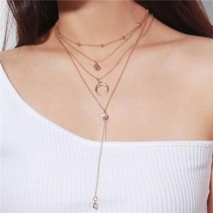 Arch and Rhinestone Pendants Multi-layer Fashion Statement Necklace - Golden