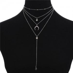 Arch and Rhinestone Pendants Multi-layer Fashion Statement Necklace - Silver
