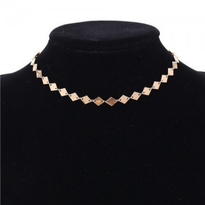 Rhombus Paillette Women Choker Necklace - Golden