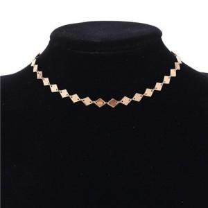Rhombus Paillette Women Choker Necklace - Golden