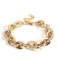 Punk Fashion Chunky Alloy Golden Chain Necklace and Bracelet Set
