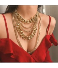 Multi-layer Chain Punk High Fashion Alloy Women Costume Necklace - Golden