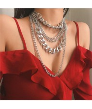Multi-layer Chain Punk High Fashion Alloy Women Costume Necklace - Silver