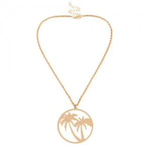 Hollow Coconut Tree Beach Fashion Alloy Costume Necklace - Golden