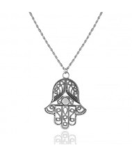 Buddha Hand Pendant Vintage Silver Alloy Fashion Necklace