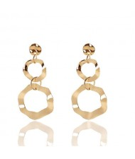 Irregular Linked Hoops Design High Fashion Costume Earrings - Golden