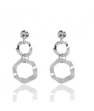 Irregular Linked Hoops Design High Fashion Costume Earrings - Silver