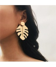 Tropical Leaves Design Bold Fashion Women Statement Earrings - Golden