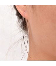 Graceful Copper Fish Shape High Fashion Costume Earrings - Silver