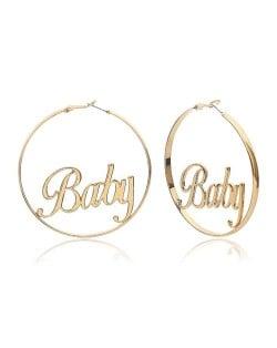 Baby Alphabets Inlaid Big Hoop Design Golden High Fashion Earrings