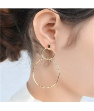 Linked Hoops High Fashion Copper Costume Earrings - Golden