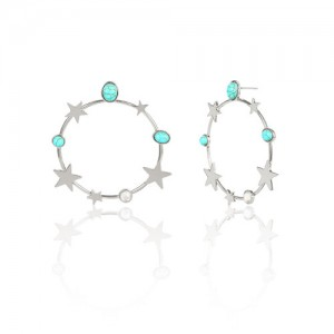 Turquoise and Stars Embellished Alloy Hoop Women Fashion Earrings - Silver