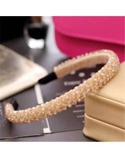 Shining Crystal Embellished Korean Fashion Hair Hoop - Brown