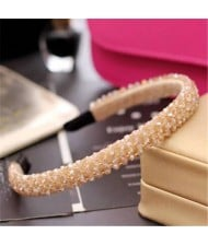 Shining Crystal Embellished Korean Fashion Hair Hoop - Brown