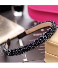 Shining Crystal Embellished Korean Fashion Hair Hoop - Purplish Blue