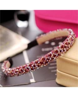 Shining Crystal Embellished Korean Fashion Hair Hoop - Red