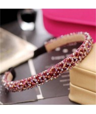 Shining Crystal Embellished Korean Fashion Hair Hoop - Red