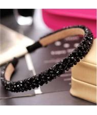 Shining Crystal Embellished Korean Fashion Hair Hoop - Black