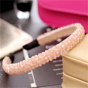 Shining Crystal Embellished Korean Fashion Hair Hoop - Pink