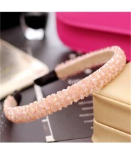 Shining Crystal Embellished Korean Fashion Hair Hoop - Pink