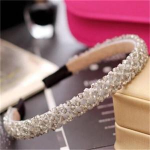Shining Crystal Embellished Korean Fashion Hair Hoop - Gray