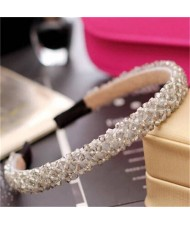 Shining Crystal Embellished Korean Fashion Hair Hoop - Gray
