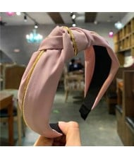 Graceful Cloth Bowknot Korean Fashion Women Hair Hoop - Pink