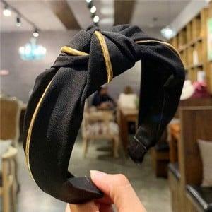 Graceful Cloth Bowknot Korean Fashion Women Hair Hoop - Black