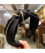 Graceful Cloth Bowknot Korean Fashion Women Hair Hoop - Black