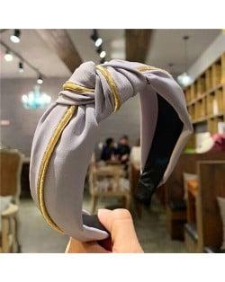 Graceful Cloth Bowknot Korean Fashion Women Hair Hoop - Pinkish Gray