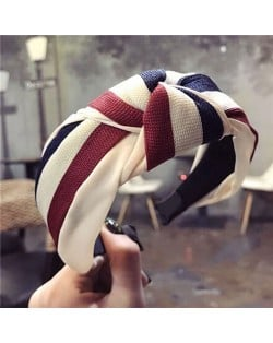 Contrast Colors Combination Design Cloth Bowknot Women Hair Hoop - Pattern 3
