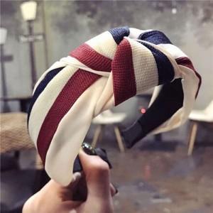 Contrast Colors Combination Design Cloth Bowknot Women Hair Hoop - Pattern 3