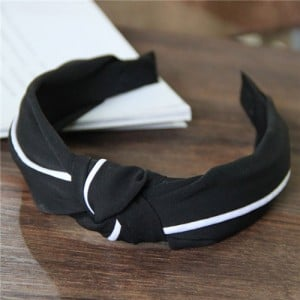 White Line Decorated Solid Color Women Hair Hoop - Black